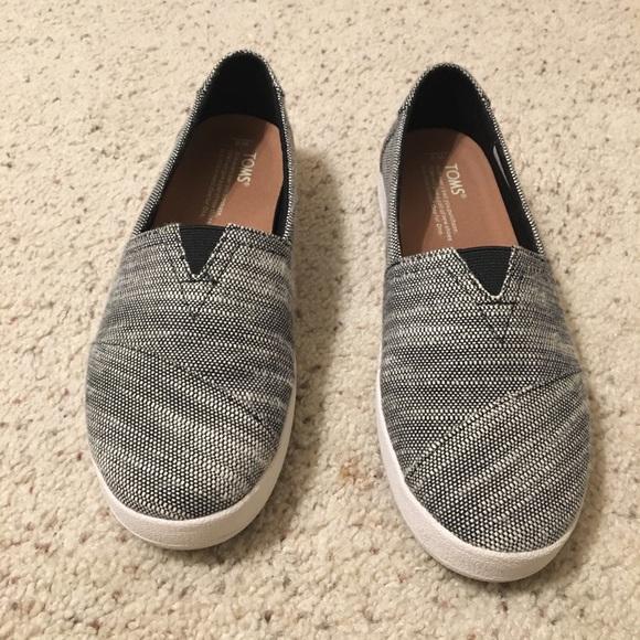 Toms Avalon Black Slubby Cotton Shoes